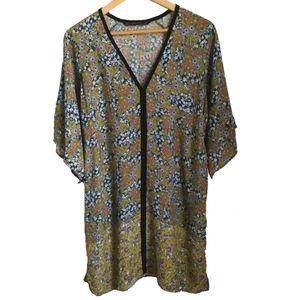 Zara Green Floral & Mixed Print Tunic, size Medium